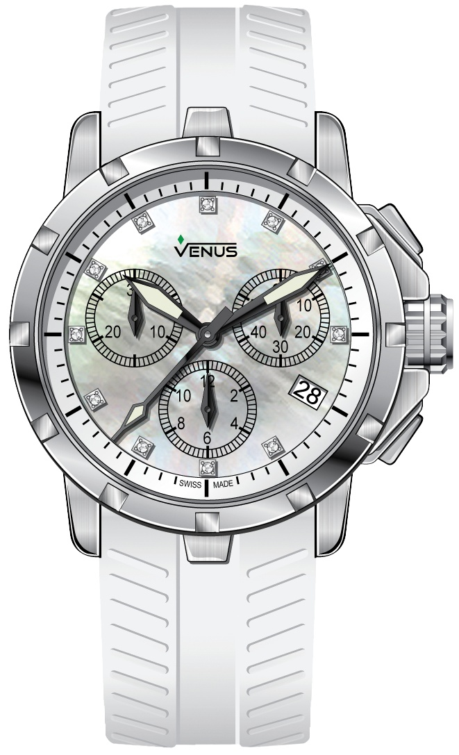 White mother of pearl with 11 full cut diamonds, Chronograph Quartz, Genesis collection
