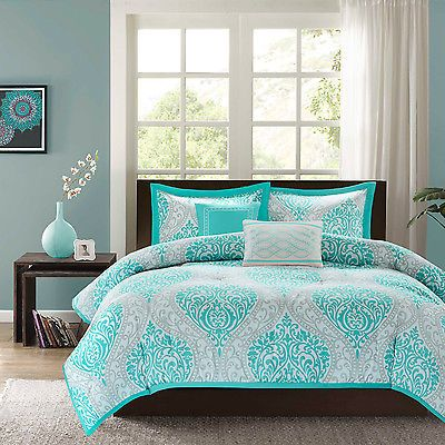 Modern Paisley Domask Print Teal Aqua Blue 5-PC Comforter Set Twin Full/Queen