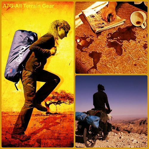 ATG All Terrain Gear. Backpacking, hiking, water sports, bicycle overlanding trips. Global vagabonds need waterproof and dustproof travel equipment.