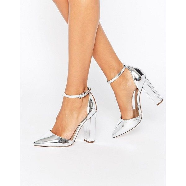 ASOS PENALTY Pointed High Heels (140 PEN) ❤ liked on Polyvore featuring shoes, pumps, silver, pointed-toe pumps, high heel shoes, silver high heel pumps, silver ankle strap pumps and block heel pumps