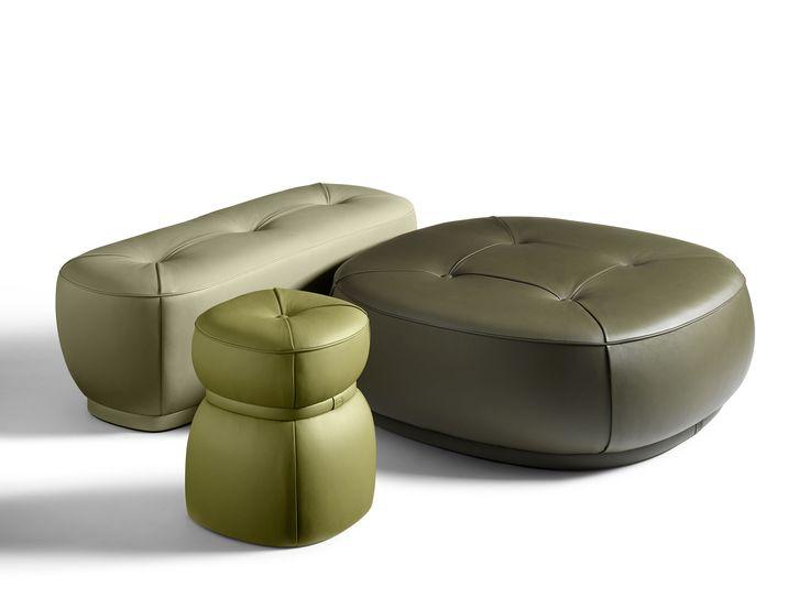LEPLI Leather pouf THE COLLECTION - Sofa and Armchairs Collection by Poltrona Frau design Kensaku Oshiro
