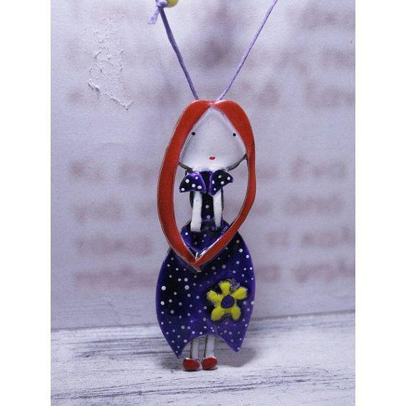 purple little lady pendant by pepeyoyojewellery on Etsy