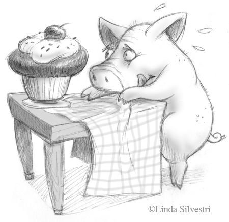 Pig & Cupcake by Linda Silvestri