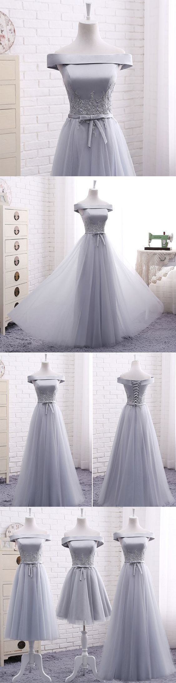 Elegant A line gray off shoulder long prom dress, short evening dresses,Formal #eveningdresses