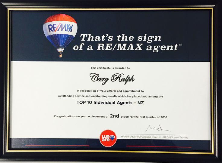 Cary Ralph No-2 for the first quarter of 2016 RE/MAX Top 10 Individual Agents - New Zealand