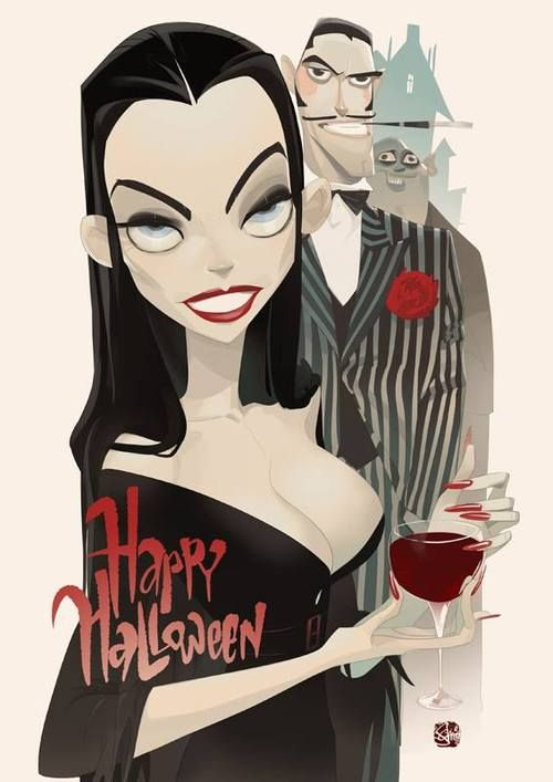 The Addams Family - Happy Halloween by Otto Schmidt *