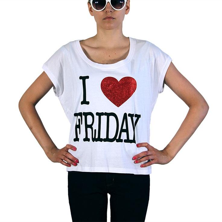 MG Lucy T-Shirt I Love Friday  Keskimmäiselle koko M/L