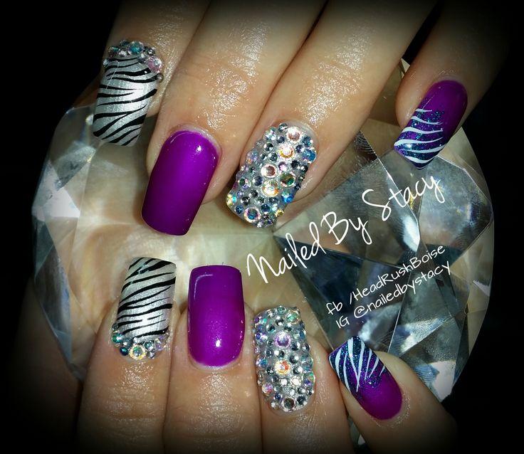 Zebra  neon purple NAILS - Fallow me on FB www.facebook.com/HeadRushBoise  And Instagram @ nailedbystacy