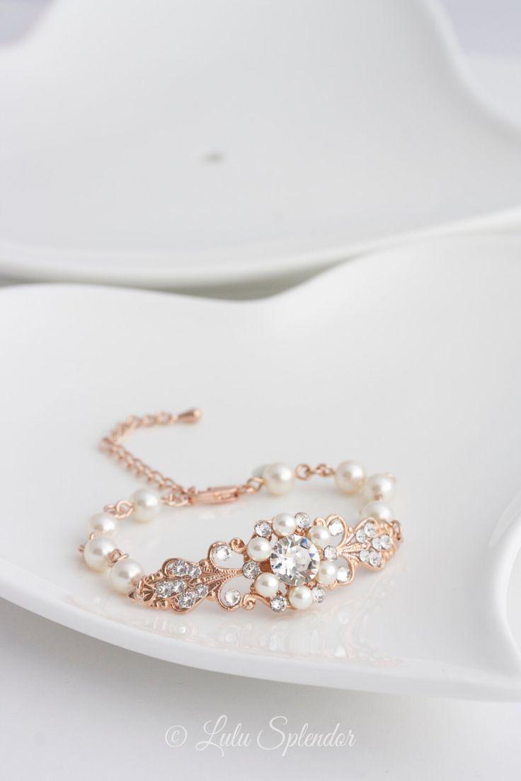 Rose Gold Bridal Bracelet Pearl Rhinestone Wedding Bracelet Vintage Style Filigree Pink Gold Bracelet PARIS by LuluSplendor on Etsy https://www.etsy.com/listing/164870254/rose-gold-bridal-bracelet-pearl