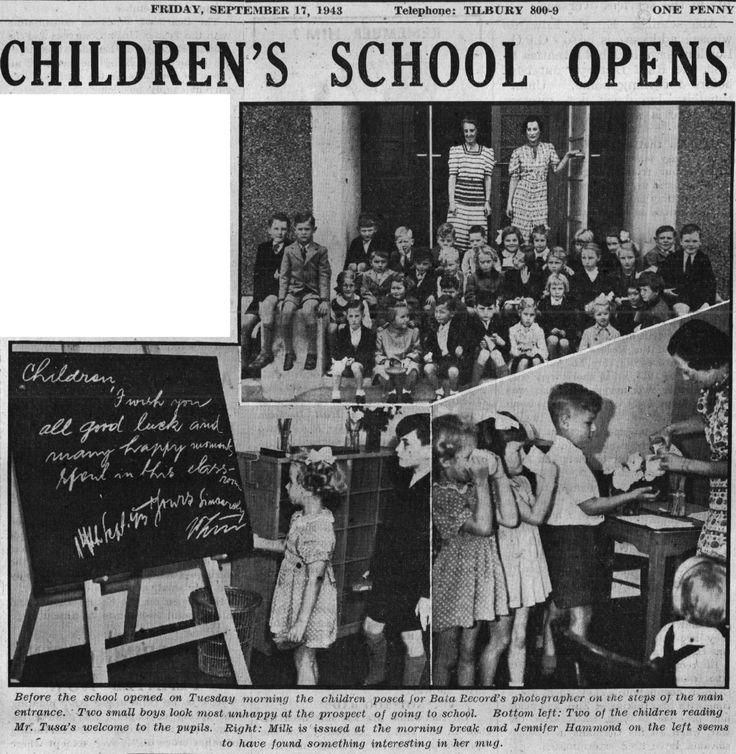 Bata Estate East Tilbury message from MD John Tusa to pupils upon opening of Bata Preparatory School Bata Record Sept 17th 1943