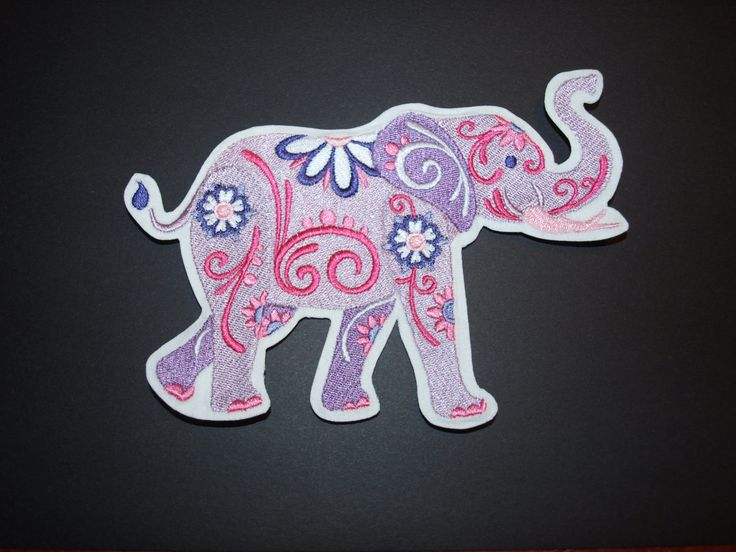 Flower Power Pink and Purple Elephant Iron on Adhesive Patch Accessory by woosbagsandcrafts on Etsy