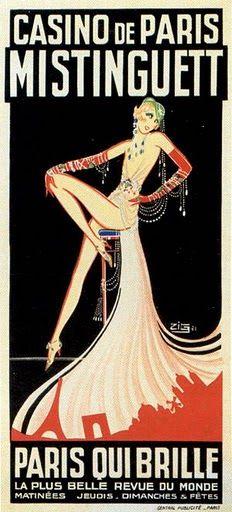 Casino de Paris Mistinguett vintage brochure  Art Deco woman, Eiffel Tower