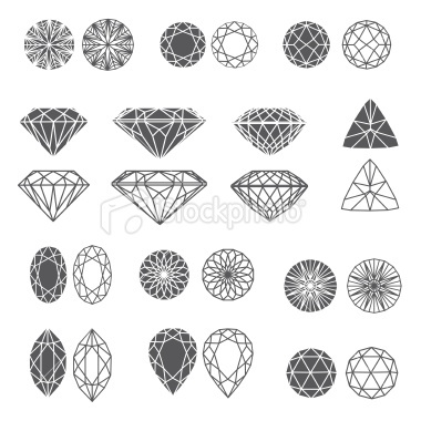 Set of diamonds Royalty Free Stock Vector Art Illustration