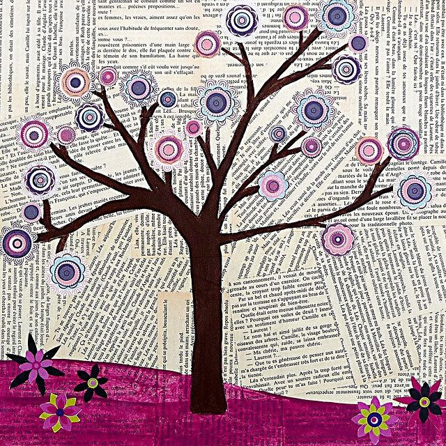 flower tree ~ this is kinda cool....could vary the background with sheets of music, journal pages, old book pages