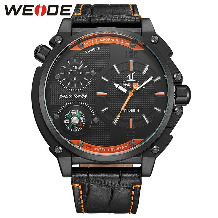 WEIDE Fashion Quartz Watch Men 30m Waterproof Dual Time Zone Black Orange Leather Watches Luxury Brand Wristwatches Hot Clcok   Tag a friend who would love this!   FREE Shipping Worldwide   Get it here ---> https://shoppingafter.com/products/weide-fashion-quartz-watch-men-30m-waterproof-dual-time-zone-black-orange-leather-watches-luxury-brand-wristwatches-hot-clcok/