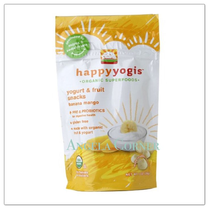 Happy Yogis Organic Super Puffs - Yogurt and Fruit Snacks Banana Manggo 1Oz(28gr)