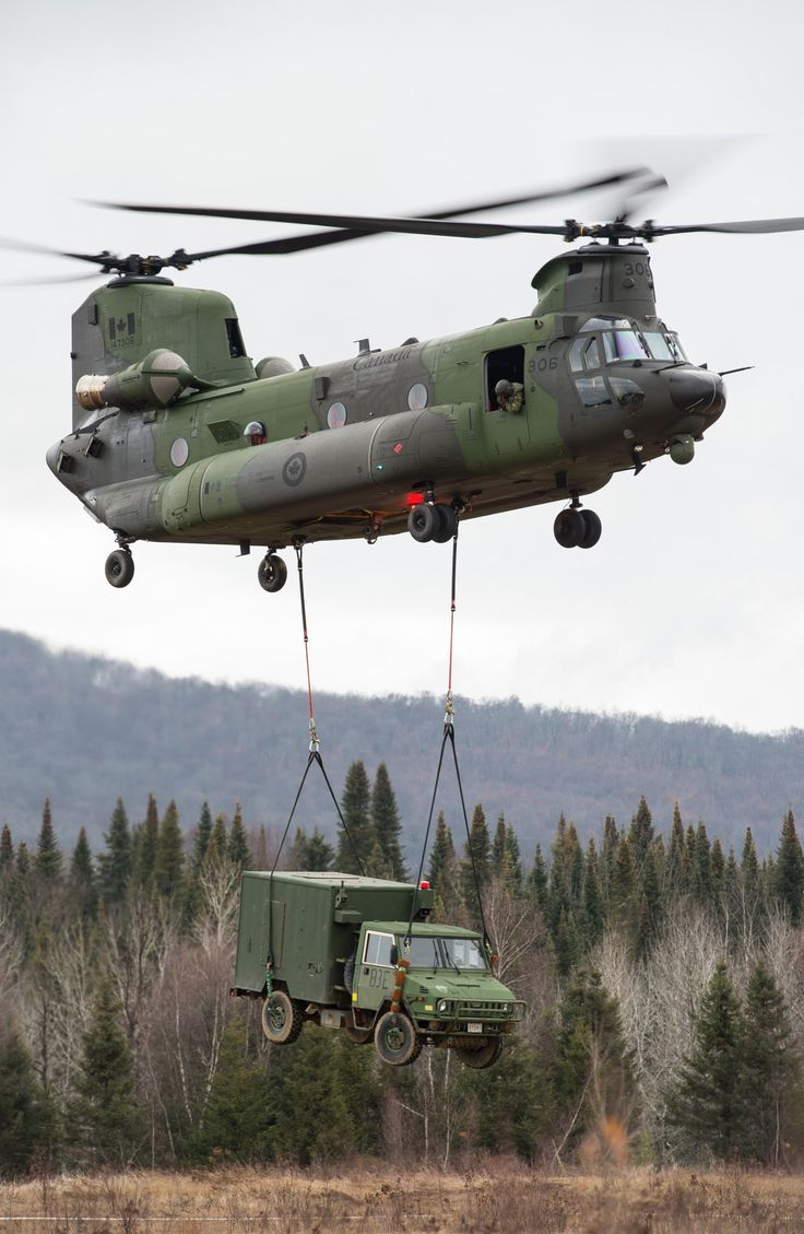 RCAF Ch-47 Chinook lifting transport truck