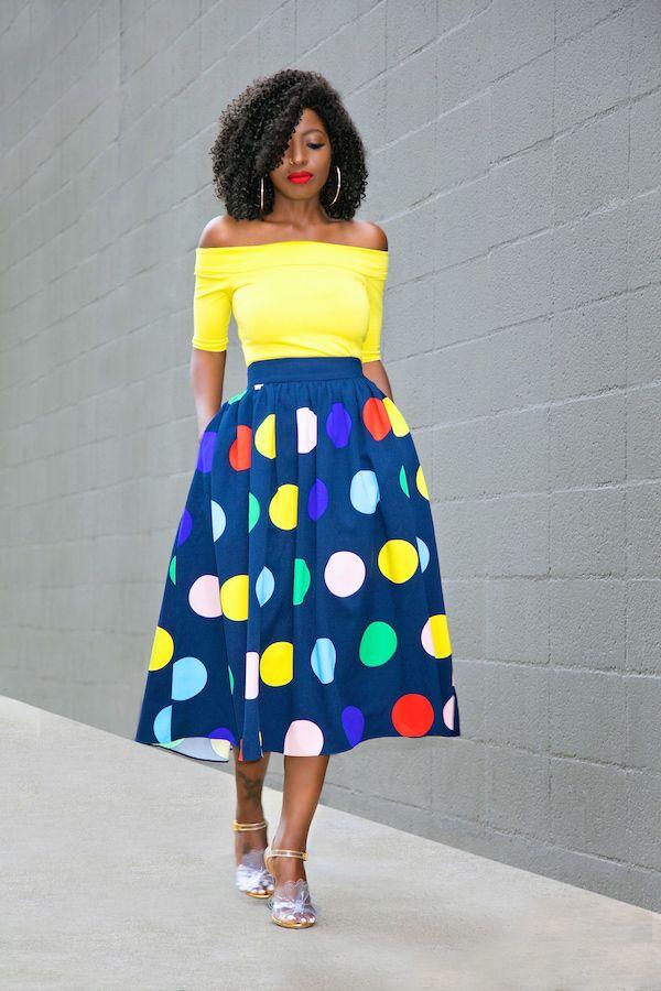 Style Pantry | Off Shoulder Top + Polka Dot Midi Skirt