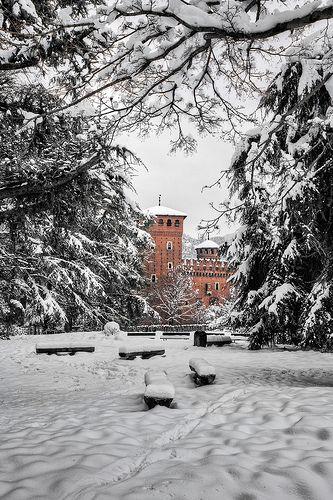Torino. Parco del Valentino sotto la neve