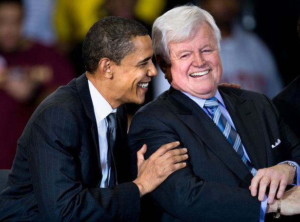 January 28, 2008: Sen. Edward Kennedy, with Democratic presidential candidate Barack Obama during a rally at American University in Washington.