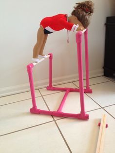 Doll Gymnastics Equipment   ... beam ...this is even even easier than the knockoff doll uneven bars