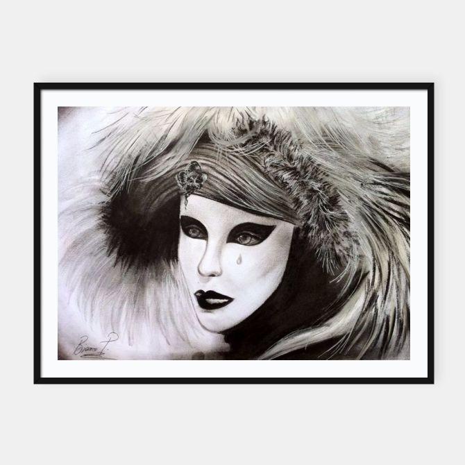 Framed poster Venetian mask