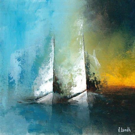Das zeitgenössische Kunstwerk der Nachbarn ist ein modernes Gemälde des Künstlers Jonas Lundh. Dies ist eine einzigartige und originelle zeitgenössische Malerei im Marinestil