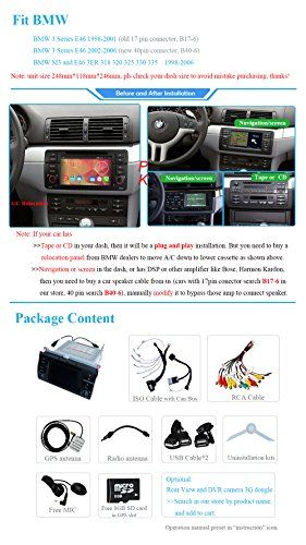 YINUO 7 Inch Car DVD Stereo for BMW 3 Series E46 M3 3ER In-Dash Vehicle GPS Navigation AV Receiver Capacitive Touchscreen iPod/iPhone Input Steering Wheel Control RDS Radio Bluetooth, OEM Style UI