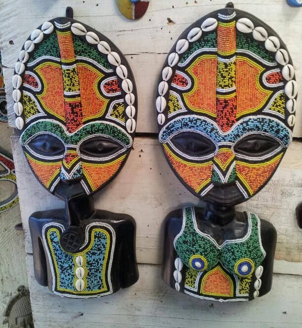africanartonline.com - Pair Ghana Male and Female Bead Masks, hand carved in Ghana, by Wisdom Nyarku, Free Shipping to USA, Canada, UK, Austalia, New Zealand (http://africanartonline.com/pair-ghana-male-and-female-bead-masks/)