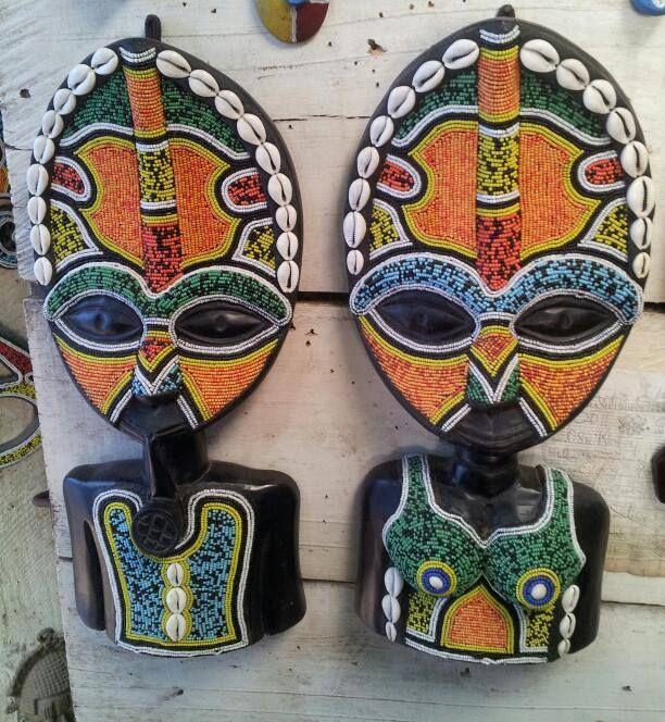 africanartonline.com - Pair Ghana Male and Female Bead Masks, hand carved in Ghana, by Wisdom Nyarku, Free Shipping to USA, Canada, UK, Austalia, New Zealand (http://africanartonline.com/pair-ghana-male-and-female-bead-masks/)