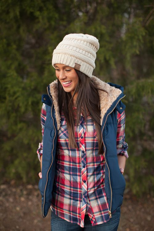 Like the casual plaid with comfy vest here.  Great for a casual winter football Sunday!  (though my colors are green and gold) ;)