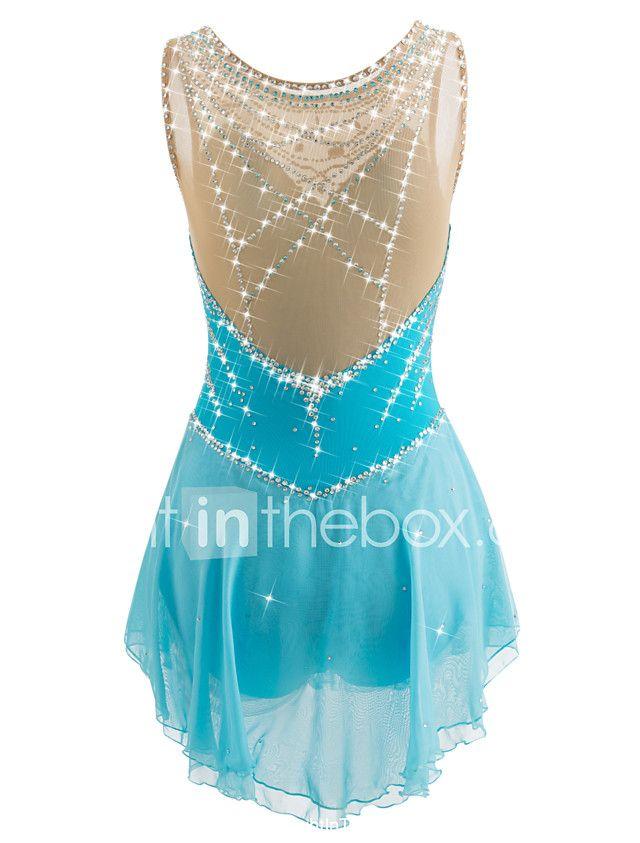 cf9ec1dded Vestidos para Patinação Artística Mulheres Para Meninas Patinação no Gelo  Vestidos Azul Claro Pedrarias Espetáculo Roupa