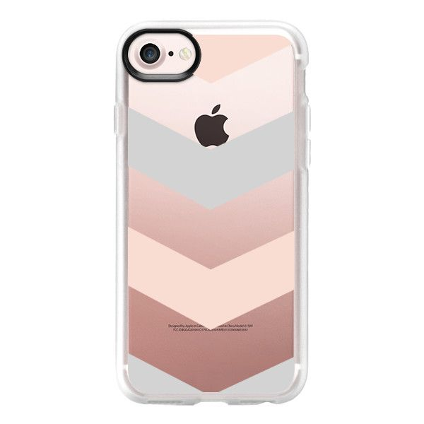 Modern blush pink gray geometric chevron - iPhone 7 Case And Cover (1,885 DOP) ❤ liked on Polyvore featuring accessories, tech accessories, phone cases, phones, iphone cases, chevron iphone case, clear iphone case, pink iphone case and apple iphone case