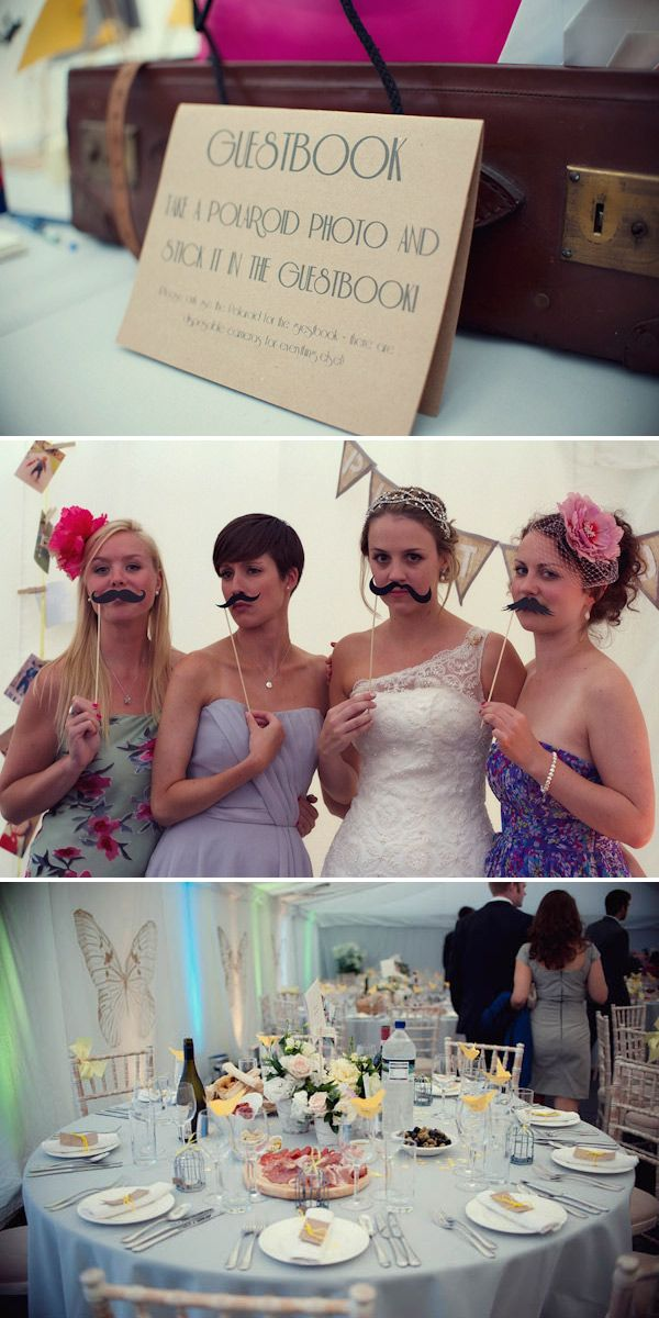 DIY Photobooth:  Have a pile of Polaroid cameras and an area set aside with a rack of silly hats, mustaches, wigs, etc.  Guests take their own pictures in the booth and can then put the pictures in the guestbook with a note to the couple.