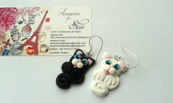 http://accessoriesforstars.blogspot.ro/2015/05/cercei-cats-friend.html #cats #black #white #blackcat #whitecat #blueeyes #blue #little #polymer #earrings #silver #accessoriesforstars