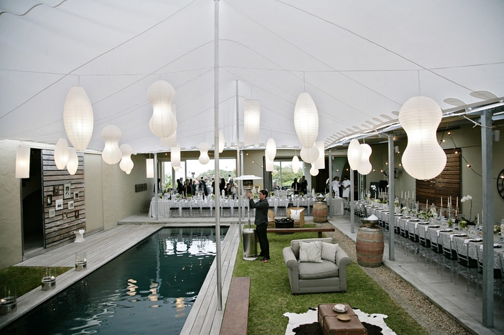 www.eventsandtents.co.za  A stretch tent and chinese lanterns are so versatile!