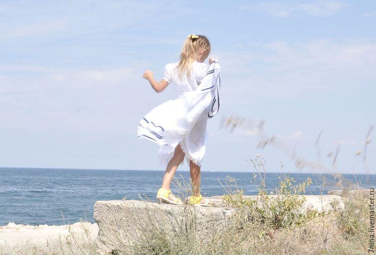 Купить Батистовое платье для девочки - белый, однотонный, детское платье, летнее платье, хлопковое платье