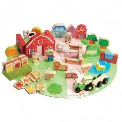 EverEarth 53pcs Organic Farm Playset | Wooden Farmyard & Animals