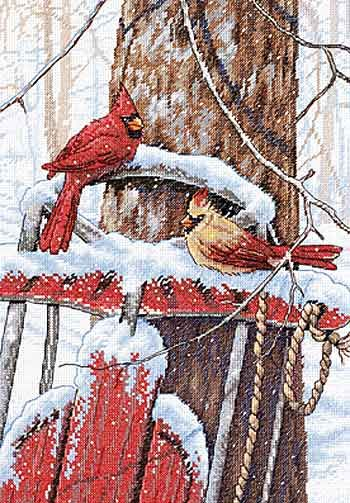 Cardinals on Sled Cross Stitch Kit from Dimensions