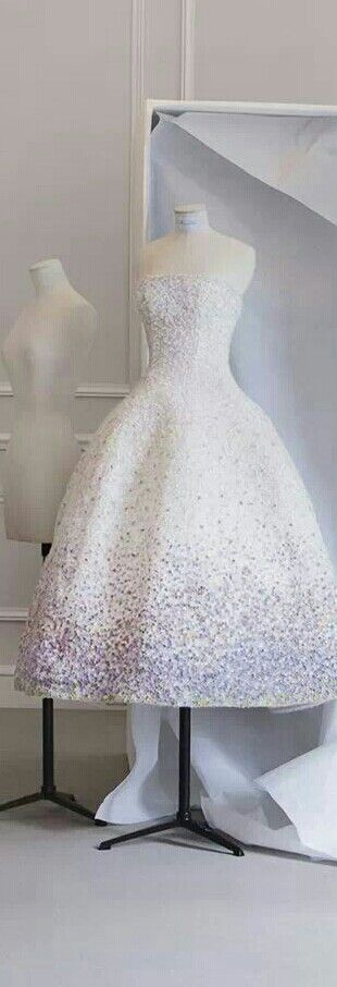 Christian Dior - Miss Dior Blooming Bouquet Dress. Worn in the ads by Natalie Portman was designed by Raf Simons who took the inspiration from  rompe l'œil  line designed by Christian Dior for Spring/Summer 1949.