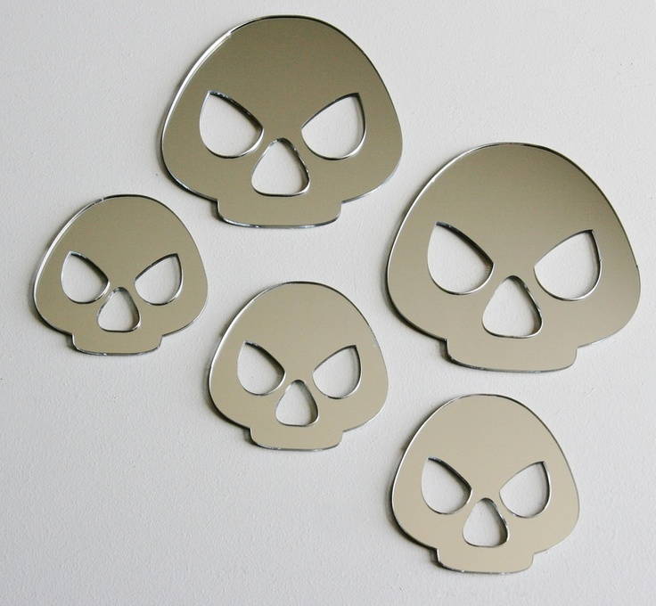 Skulls set of 5 mirrors, 11.5 by 11.5cm and 8.5 by 8.5cm. Available from our online store for a discounted $9.95 + postage. Cut from a 3mm acrylic - Can be hung with Blu-tack.