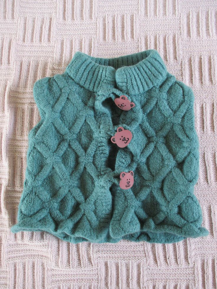 Baby girls home made green waistcoat teddy buttons approx age 12-18 months