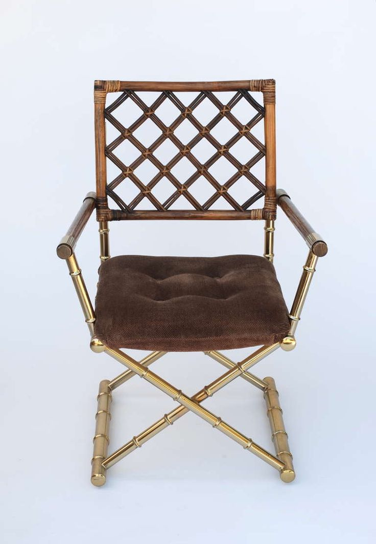 Set Of Four Faux Bamboo Brass And Rattan Directors Chairs