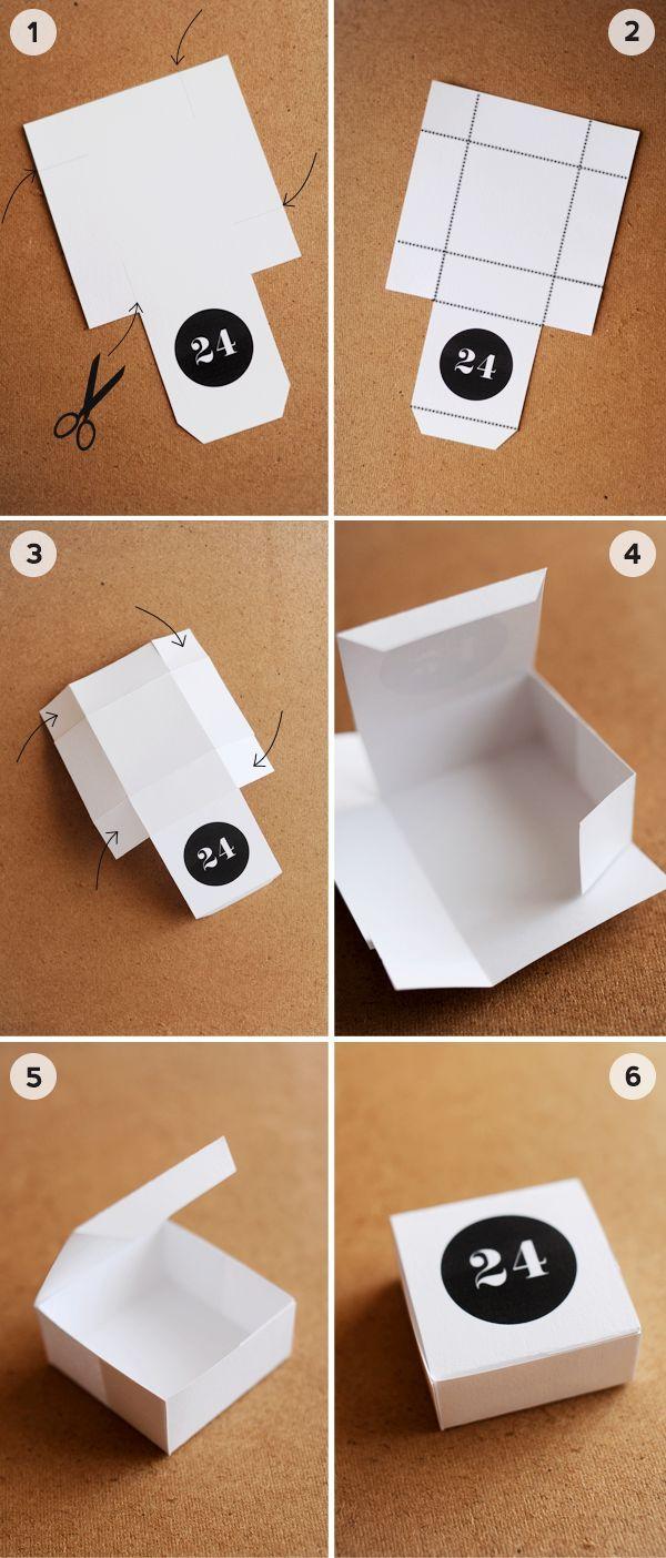 adventskalender basteln ideen papierboxen ausschneiden schwarz weiß