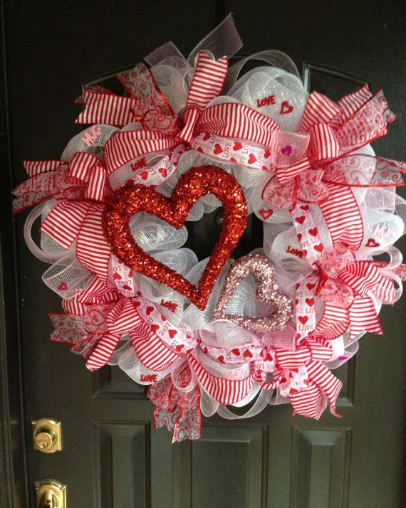 Valentine hearts deco mesh wreath by DazzlemeWreaths on Etsy, $145.00