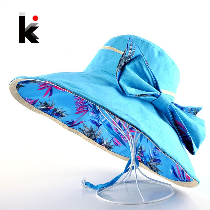 Beach Hat Summer Hats For Women Flower Pattern And Solid Colors Sides Use Fashion Visors Cap Sun Wide Big Brim Hat