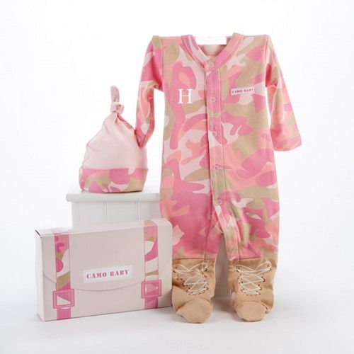 Pink Baby Camo Personalized Layette Gift Set