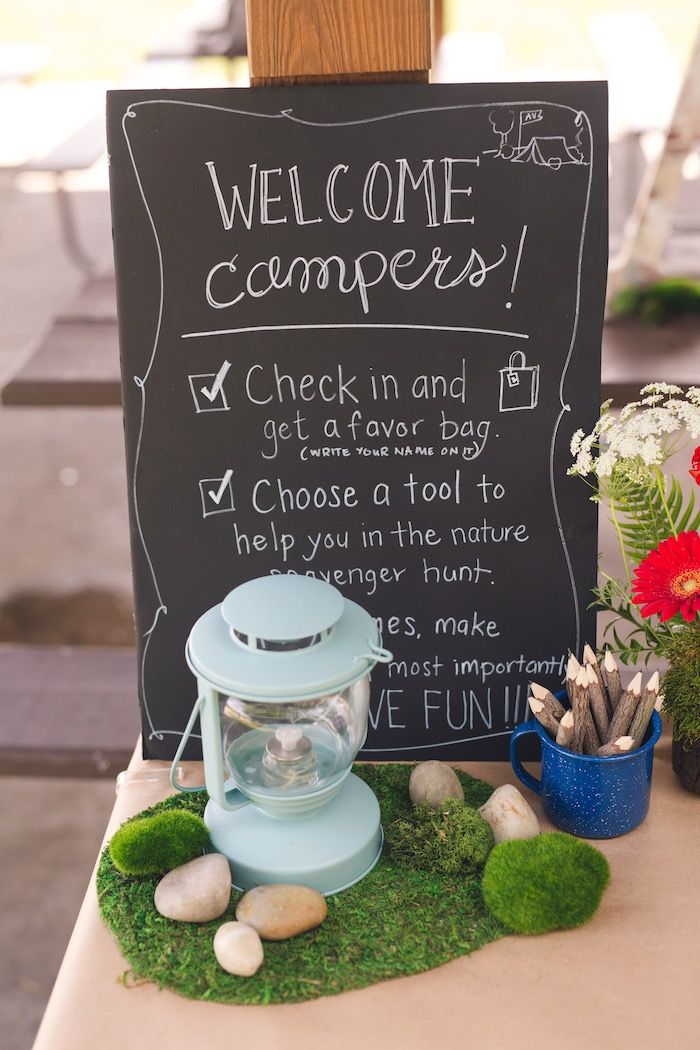 Welcome Campers sign from Summer Camp + Camping Birthday Party from The Place for All Things Party--Kara's Party Ideas!