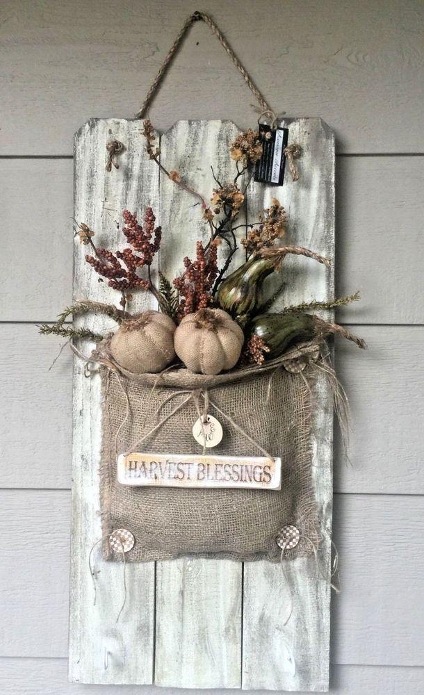 Old Picket Fence Fall Burlap & Pumpkin Floral Arrangement Front Door Decor…