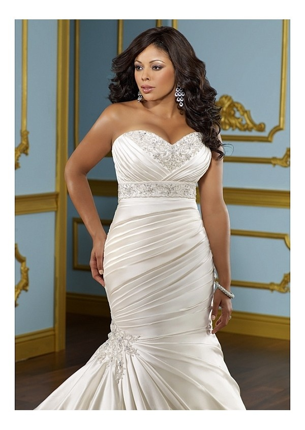 Glamorous Satin Mermaid Sweetheart Neckline Plus Size Wedding Dress With beads & Lace Appliques W1958